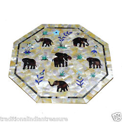 18 Marble Coffee Table Top Pietra Dura Mother Of Pearl Elephants Occasion Decor
