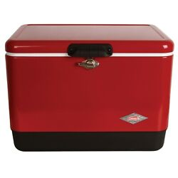 Cooler Ice Chest Box Portable Insulated Camp Outdoor Picnic Vintage Red 54 Quart