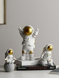 Resin Astronaut Figurines Spaceman With Moon Sculpture Decorative Statues Gift