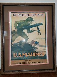 Vintage Framed Poster - And039go Over The Top With U.s. Marinesand039andnbsp