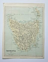 1874 Tasmania Old Antique Map From Booth 'australia Illustrated' Virtue Hughes