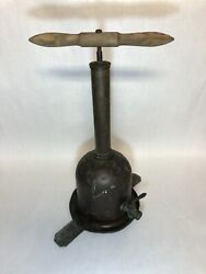 Antique Mueller Brass And Copper Fire Extinguisher Wood Handle Water Pump Hydrant