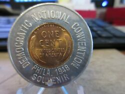 1947-d Democratic National Convention /three Feathers Encased Lincoln Cent 35mm