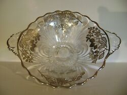 Vintage Footed Sterling Silver Berry Overlay Glass Bowl-strawberries 9 1/2 W