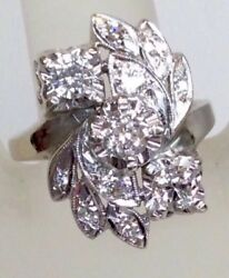 Antique 1.20ct Diamond Floral Motif Engagement Ring Solid 14k White Gold
