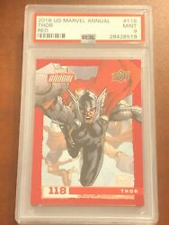 2016 Ud Marvel Annual Thor Card Super Rare Red Redemption 118 Psa 9 Mint