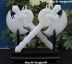 14 Chinese Natural White Jade Carving Dragon Dragons Head Axe Axes Pair Statue