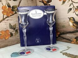 Royal Doulton Oxford Glass Crystal Pair Of Candlesticks