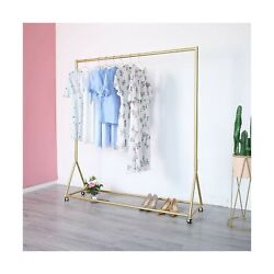 Gold Clothing Rack, Boutique Display Clothes Rack With Wheels, Modern Garment...