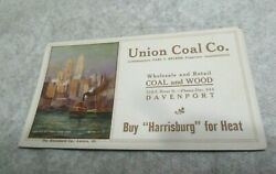 Union Cole Co Harrisburg Heat Ink Blotter Old Paper Tug Boat New York