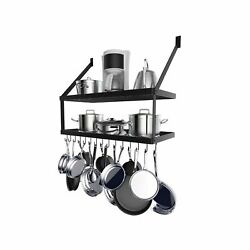 Hoooh Square Grid Wall Mount Pot Rack With 2-tier 15 Hooks, Kitchen Cookware ...