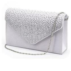 Ladies Satin Clutches Evening Bags Crystal Bling Handbags Wedding Party Purse $10.99