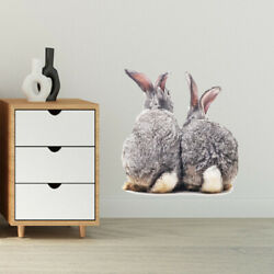 Wall Sticker Two Cute Rabbits Removable Room Home Decoration Bunny StickersB