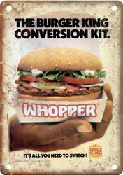 Burger King Whopper Vintage Ad 10 X 7 Reproduction Metal Sign N545