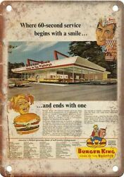 Burger King Wopper Vintage Ad 10 X 7 Reproduction Metal Sign N542
