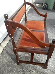 Rare Find Antique French Country Mahogany Upholstered Bench/settee