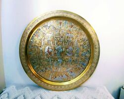 Antique Middle Eastern Egyptian Large Brass Tray W/silver And Copper Inlay