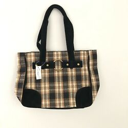 New With Tags Longaberger Homestead Black And Tan Plaid Purse