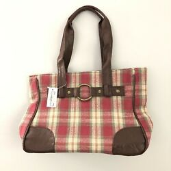 New With Tags Longaberger Homestead Red And Green Plaid Purse