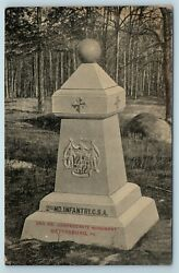 Postcard Pa Gettysburg Battlefield 2nd Second Md Csa Confederate Monument Ad12