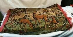 Buck DEER vintage TAPESTRY Wall Hanging Fabric Woodland Hunting Cabin 37inx22in