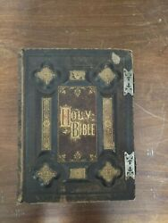 Rare Antique Large Family / Marriage Holy Bible Late 1800's Metal Clasps