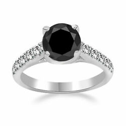 Black Round Moissanite And Diamond Solitaire Wedding Ring 14k Solid White Gold