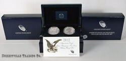 2012-s Silver Eagle 75th Anniv. 2-coin Proof And Reverse Proof Set In Ogp W/coa