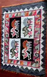 Large Thick Navajo/ Mexico Wool Rug Blanket Native American Indian Tapestry