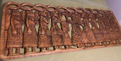 Huge Antique Hand Carved Wood Figural African Congo Wall Relief Sculpture Plaque