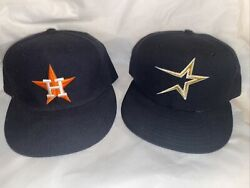 Houston Astros New Era Vintage 1990's Authentic 2 Hat Cap Lot Size 7 1/4 Fitted