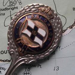 Old Ss Orion Orient Line Silver Plated Spoon With Enamel Crest Emmigration Ship