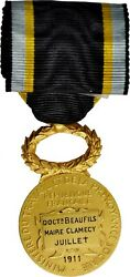 G056 France. Medal For Mutual Aid Gold Medal July 1911. Paris Mint. Choice Unc