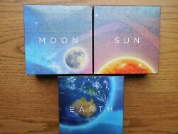 Earth And Beyond - Sun - Moon - Silver Domed And Coloured Proof Set Of 3 Coins