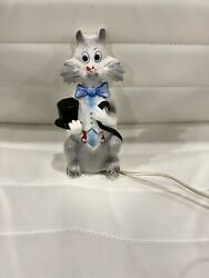 Vintage Underwriters' Laboratories Portable Lamp- Cat Lamp With A Top Hat/ Cane