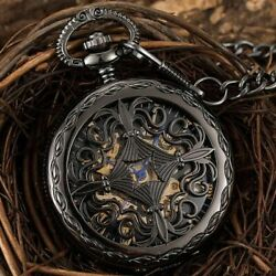Antique Mechanical Pocket Watch Pendant Collection Fob Chain Skeleton Steampunk