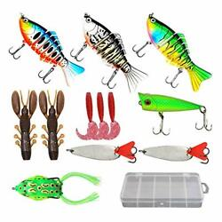 Leray 12pcs Fishing Lure Set Baits Tackle Kit With Box Top Water Lures Includin