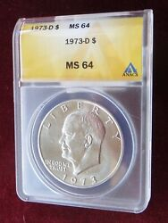 A Certified 1973 D Eisenhower Dollar Anacs Ms 64 Low Shipping Cost