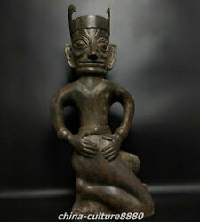 26 Old China Bronze Ware Dynasty Palace San Xingdiu Kneel People Person Statue
