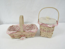 Longaberger 2000 And 2002 Whitewash Horizon Of Hope Baskets Liners And Protectors