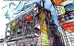 Original Hand Painted French Quarter Jackson Square New Orleans Louisiana