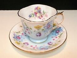 Aynsley English Bone China Tea Cup With Beautiful Blue Yellow And Pink Flowers