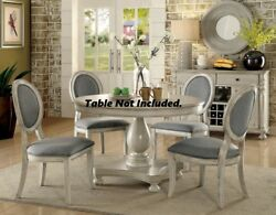 6p Set Side Chairs Gray Upholstered Seat Round Back Antique White Wood Frame Leg