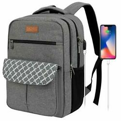 Travel Laptop Backpack for Women Men Waterproof Business Bags with USB Grey $43.96