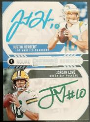Justin Herbert/jordan Love On Card Autograph Round Numbers Rare One Of A Kind
