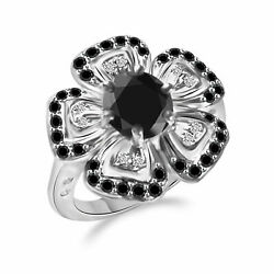 3.45 Ct Aaa Black Moissanite Round Cut And White Natural Diamond 10k Gold Ring