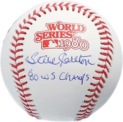 Steve Carlton Phillies Signed 1980 World Series Logo Ball And 80 Ws Champs Insc