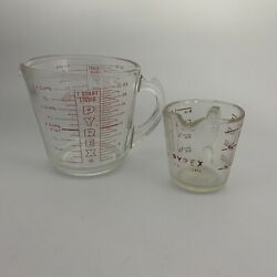 Vintage Pyrex 508 532 Measuring Cup With D Handle 1 And 4 Cup Red Letter Set D-00