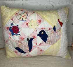 New Handmade Love Birds And Flowers Pillow Vintage Quilt Chenille Bedspread Cute