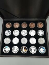 Celtic Lore Complete Set Of 20 1 Oz Silver Proof Antiqued Colorized And Copper Coa